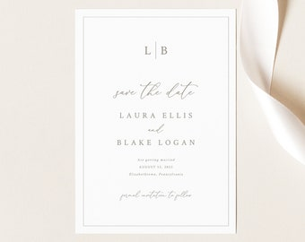 Save the Date Template, Monogram & Border, Elegant Save Our Date Card, Printable, Fully Editable, Templett INSTANT Download