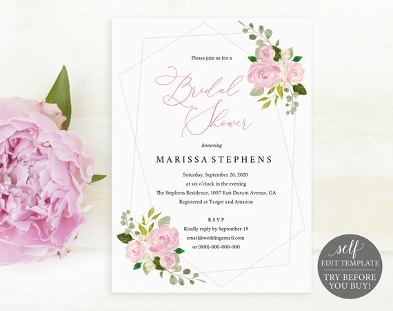 Bridal Shower Invitation Template, TRY BEFORE You BUY, Printable Bridal Shower Invite, 100% Editable, Pink Floral, Instant Download