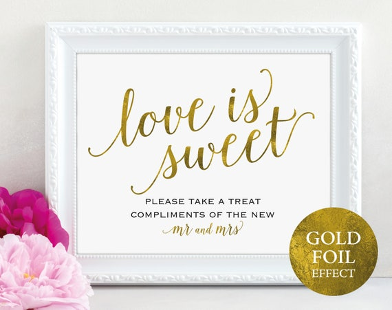 Gold Love is Sweet Sign, Please Take a Treat, Mr and Mrs, Dessert Table Sign, Wedding Printable, Wedding Sign, PDF Instant Download, MM01-3
