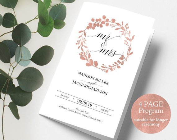 Rose Gold Wedding Program Template, Extended Program, Folded Program, Printable Wedding Program in Rose Gold, PDF Instant Download, MM07-7