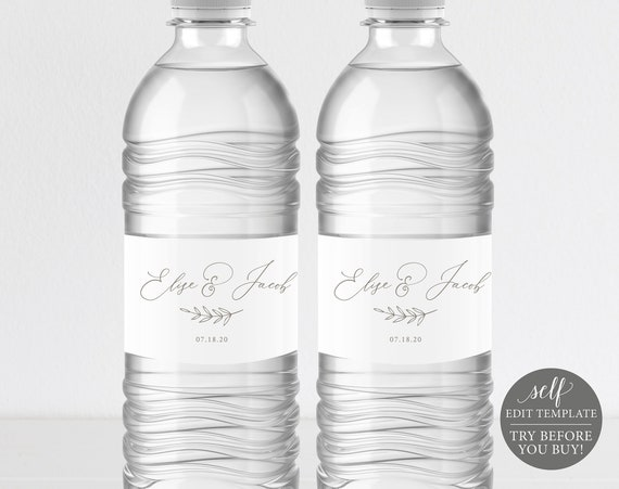 Water Bottle Label Template, FREE Demo Available, Editable Instant Download, Elegant Font