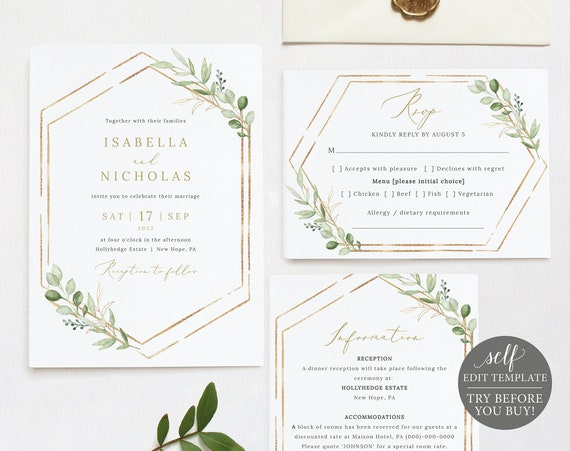 Wedding Invitation Template Suite, Greenery Hexagonal, Editable & Printable Instant Download, TRY Before You Buy, Templett