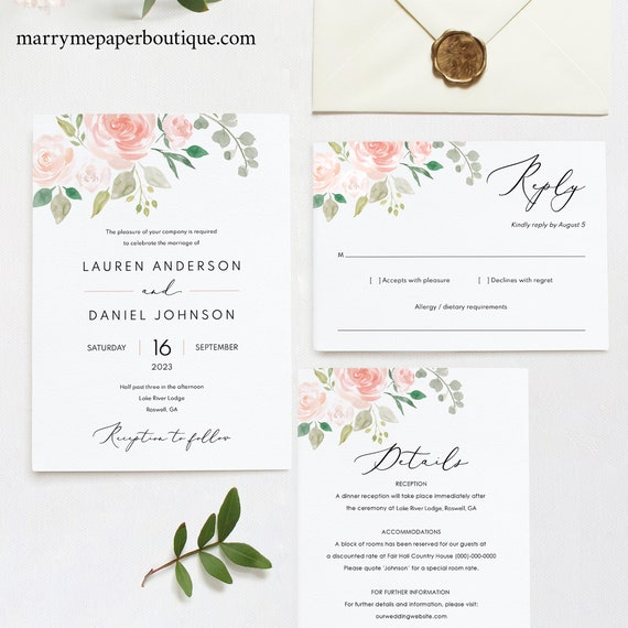 Floral Wedding Invitation Template, Printable Wedding Invitation Set Templates, Floral Invitation, Calligraphy, Instant Download, MM08-3