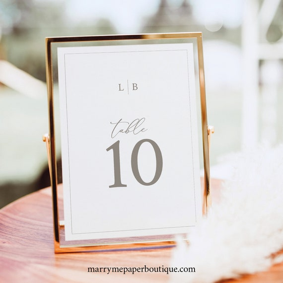 Table Number Template, Monogram & Border, Printable Table Number Sign, Fully Editable, Templett INSTANT Download