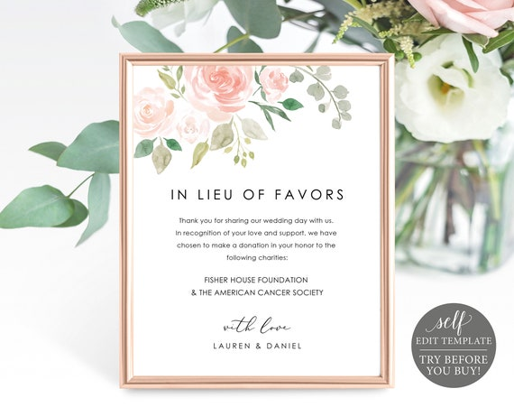 In Lieu of Favors Sign Template, TRY BEFORE You BUY, Editable Instant Download, Pink Blush Floral