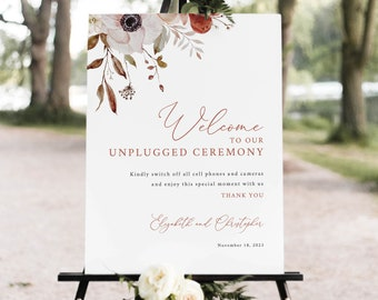 Unplugged Ceremony Sign Template, Fall Floral, Unplugged Wedding Sign, Printable, Editable, Fall Wedding, Templett INSTANT Download