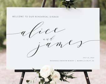 Rehearsal Dinner Welcome Sign Template, Modern Elegant, Rehearsal Dinner Sign, Printable, Editable, Templett INSTANT Download
