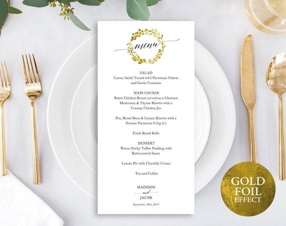 Faux Gold Wedding Menu Template, Printable Wedding Menu, Gold Wedding Menu, Editable Menu, 4x8 Wedding Menu, PDF Instant Download, MM07-3
