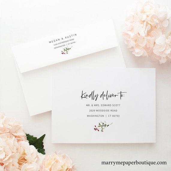 Envelope Address Template, Summer Garden Greenery, Wedding Envelope Address Printable, Templett INSTANT Download, Editable