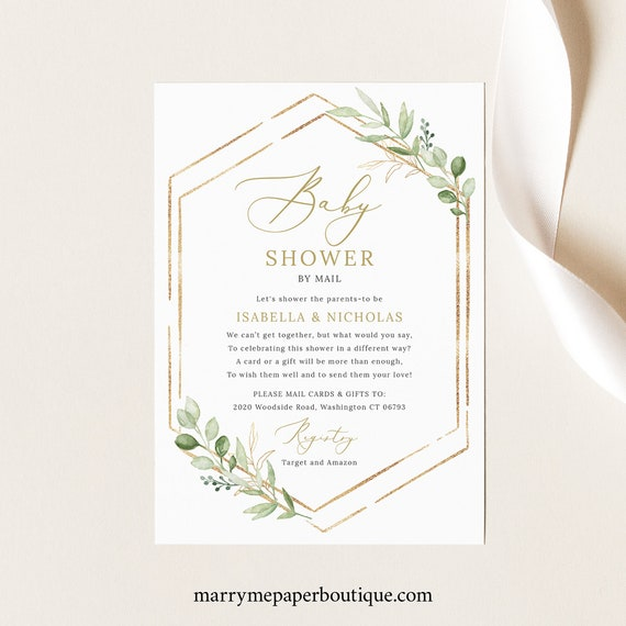 Greenery Baby Shower By Mail Invitation Template, Social Distance, Hexagonal Invitation Printable, Templett, Instant Download