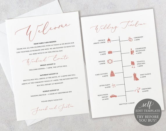 Timeline & Welcome Card Template, Editable Instant Download, TRY BEFORE You BUY, Elegant Rose Gold