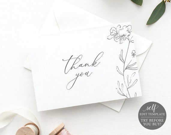 Thank You Card Template Folded, Elegant Botanical, TRY BEFORE You BUY, Editable Instant Download