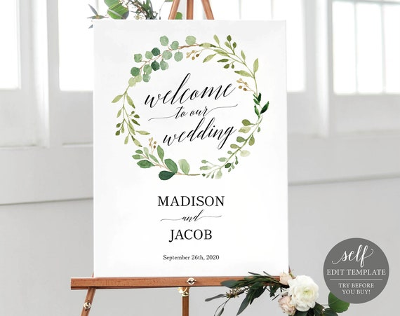 Greenery Wedding Welcome Sign Template, 100% Editable, Welcome to our Wedding Sign Printable, Instant Download, TRY BEFORE You Buy