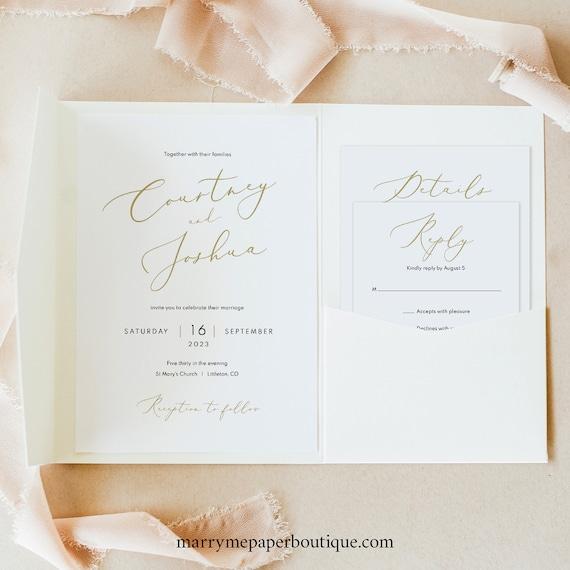 Wedding Invitation Template Set, Elegant Gold Script, Pocket Fold, Invite Set Printable, Editable, Templett, INSTANT Download