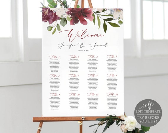 Wedding Seating Plan Sign, Fully Editable Template, Instant Download, Burgundy Floral, TRY BEFORE You BUY