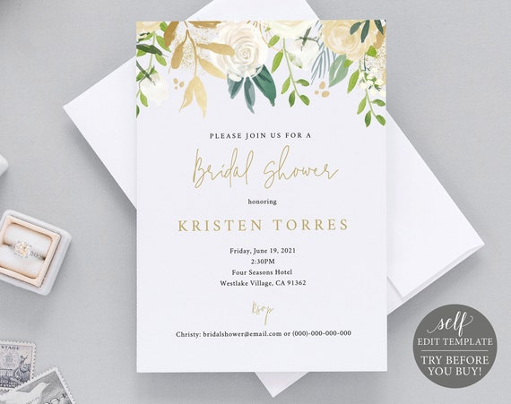 Bridal Shower Invitation Template, 100% Editable Instant Download, TRY BEFORE You BUY, White & Gold Floral