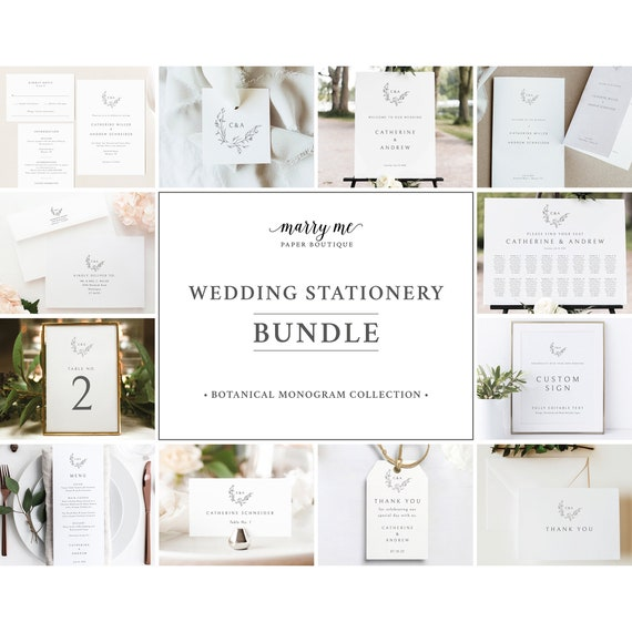 Wedding Template Bundle, Elegant Monogram, Demo Available, Wedding Bundle Templates, Wedding Template Kit, Templett Instant Download