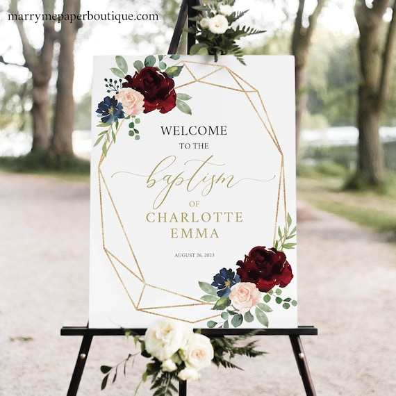 Baptism Welcome Sign Template, Burgundy Geometric, Printable Editable Instant Download, Demo Available