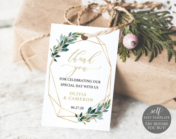 TRY BEFORE You BUY! Thank You Tag Template, Instant Download, Wedding Printable, Greenery, Editable