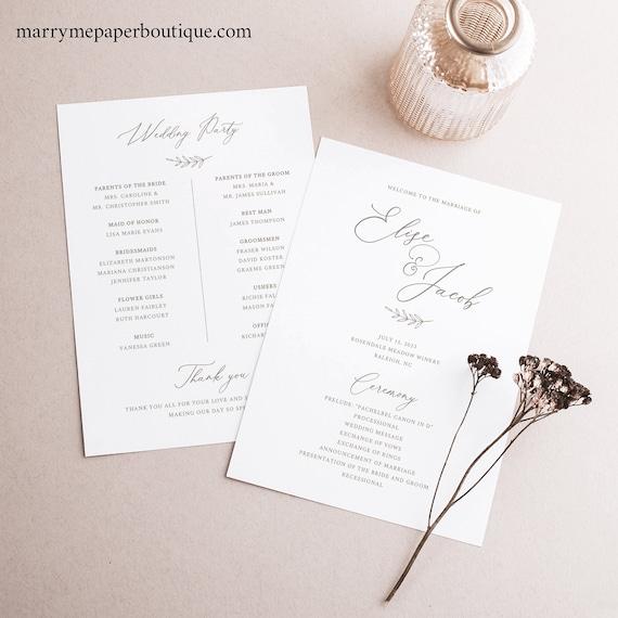 Wedding Program Template, Elegant Font, Elegant Wedding Ceremony Program, Printable, Editable, Templett INSTANT Download