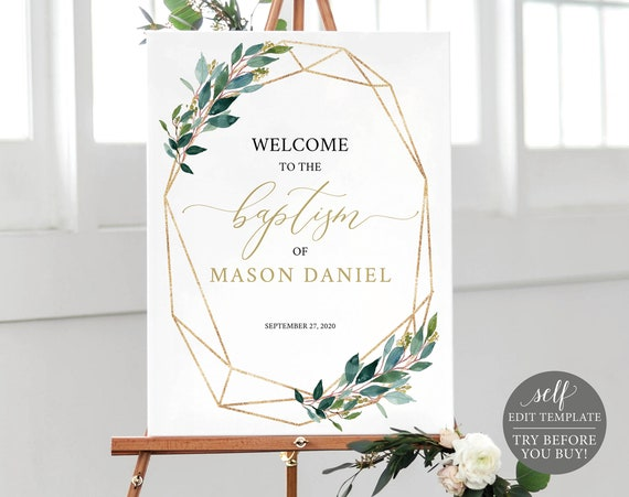 Baptism Welcome Sign Template, 100% Editable, Printable Baptism Signage, Instant Download, Geometric Gold & Greenery, TRY BEFORE You BUY