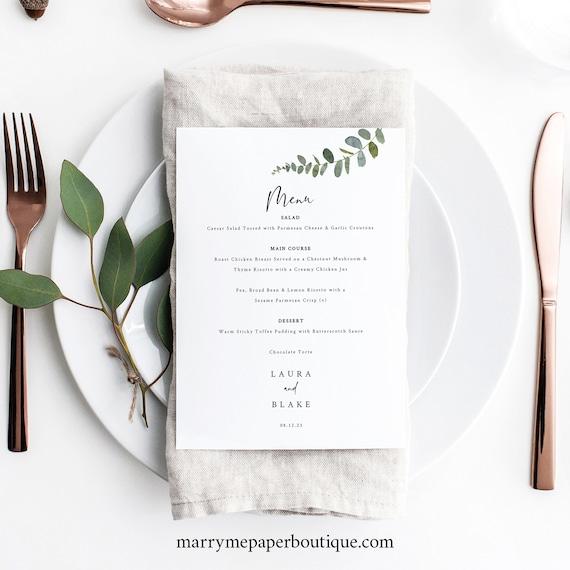 Wedding Menu Card Template, Eucalyptus Greenery, Wedding Table Menu, Eucalyptus Menu, Printable, Editable, Templett INSTANT Download