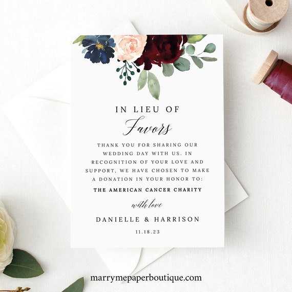 In Lieu of Favors Card Template, Burgundy Navy, Printable Editable Instant Download, Free Demo Available