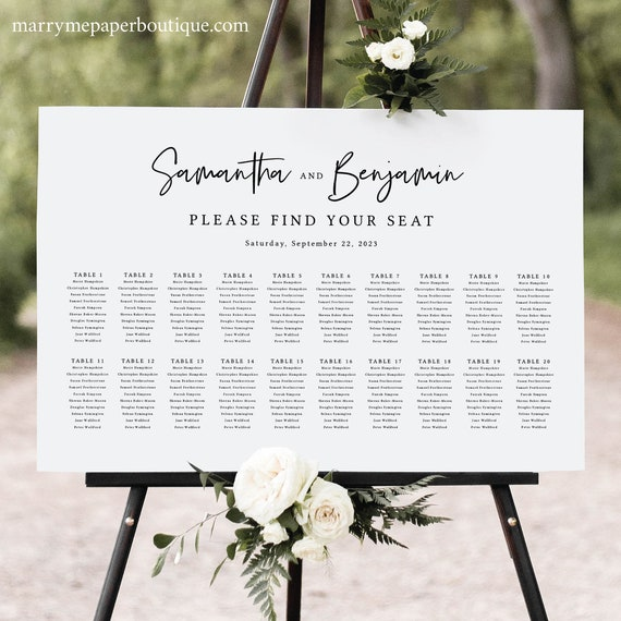 Wedding Seating Chart Template, Minimalist Script, Modern Seating Plan Sign, Printable, Editable, Poster, Templett INSTANT Download