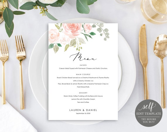 Floral Wedding Menu Template, Dessert Menu Printable, 100% Editable Wedding Menu, Pink Floral Menu, Instant Download, TRY BEFORE You BUY