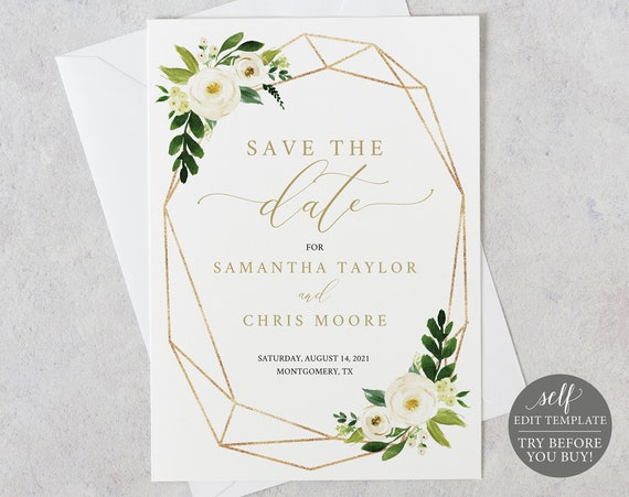 Save the Date Template, Fully Editable Instant Download, TRY BEFORE You BUY, White Floral Geometric