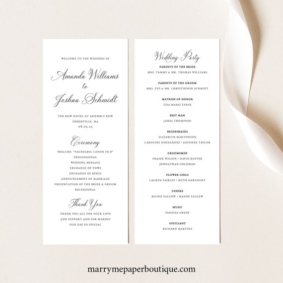 Elegant Wedding Program Template, Fully Editable Program, Printable, Templett INSTANT Download, Traditional, Calligraphy