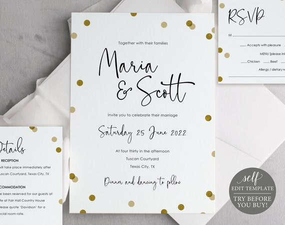 Wedding Invitation Template Set, Gold Confetti, Demo Available, Editable & Printable Instant Download
