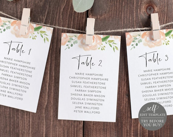 Seating Plan Template Cards, Peach Floral, Editable Instant Download, TRY BEFORE You BUY