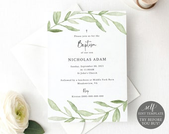 Baptism Invitation Template, Greenery Leaves,  Editable Instant Download, TRY BEFORE You BUY