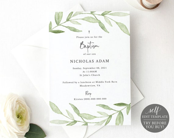 Baptism Invitation Template, Greenery Leaves, 100% Editable Instant Download, TRY BEFORE You BUY