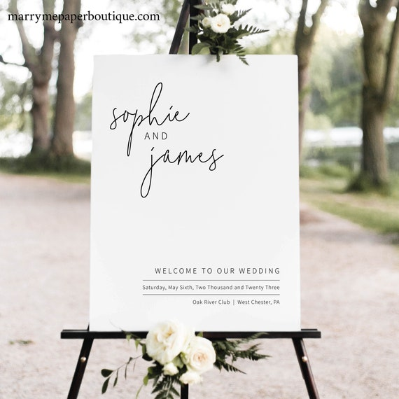 Wedding Welcome Sign Template, Elegant Minimalist, Welcome To Our Wedding Sign, Printable, Editable, Templett INSTANT Download, Portrait