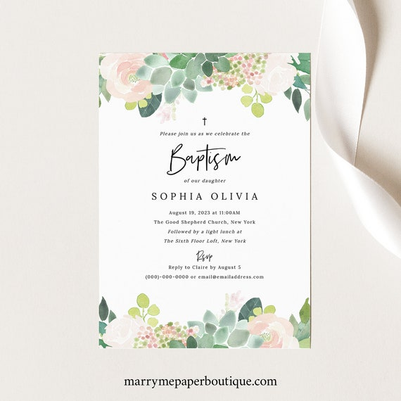 Succulent Floral Baptism Invitation Template, Green & Blush Baptism Invite Printable, Templett Editable, Instant Download