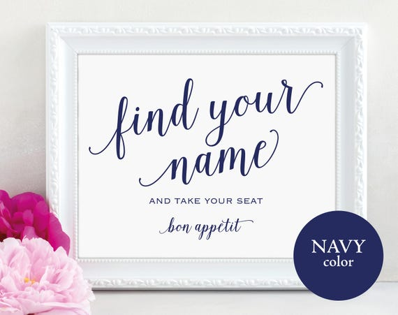 Navy Find Your Name Sign Template, Printable Find Your Name Sign, Bon Appetit, Navy Wedding Seating Sign, PDF Instant Download, MM01-4