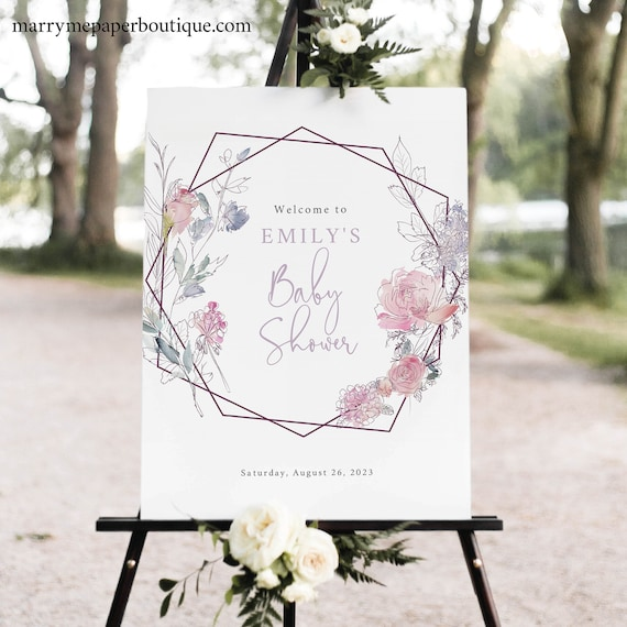Boho Baby Shower Welcome Sign Template, Pink & Lilac Floral, Printable Baby Shower Sign, Editable, Templett INSTANT Download