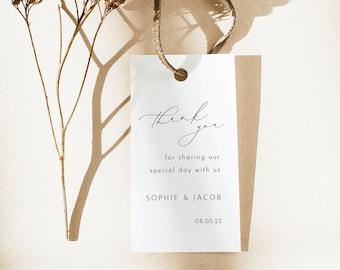 Wedding Favor Tag Template, Luxury Calligraphy, Elegant Wedding Tag, Printable, Editable, Rectangular, Templett INSTANT Download