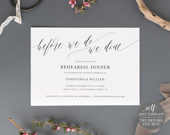 Rehearsal Dinner Invitation Template, Rustic, TRY BEFORE You BUY, Editable Instant Download