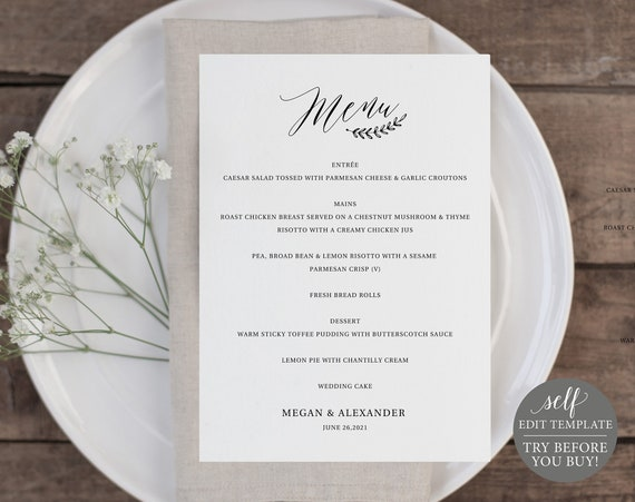 Rustic Menu Template 5x7, 100% Editable Instant Download, TRY BEFORE You BUY