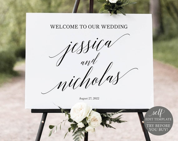 Wedding Welcome Sign Template, Calligraphy, FREE Demo Available,  100% Editable Instant Download