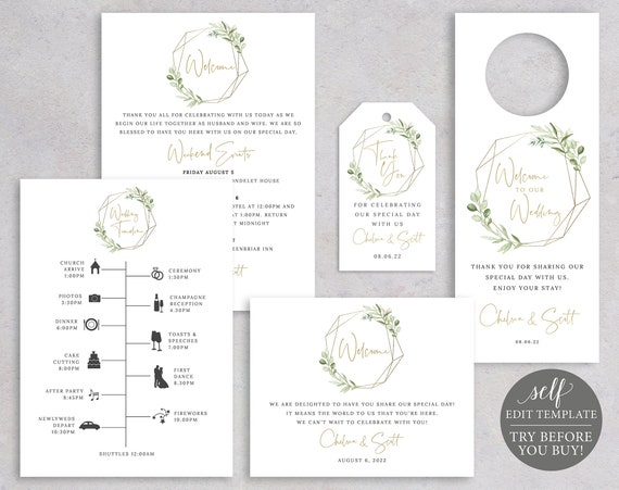 Guest Welcome Bundle Templates, Greenery & Gold, TRY BEFORE You Buy, Printable Editable, Instant Download, Templett