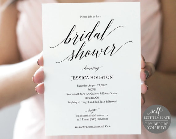 Bridal Shower Invitation Template, Calligraphy, FREE Demo Available, 100% Editable Instant Download