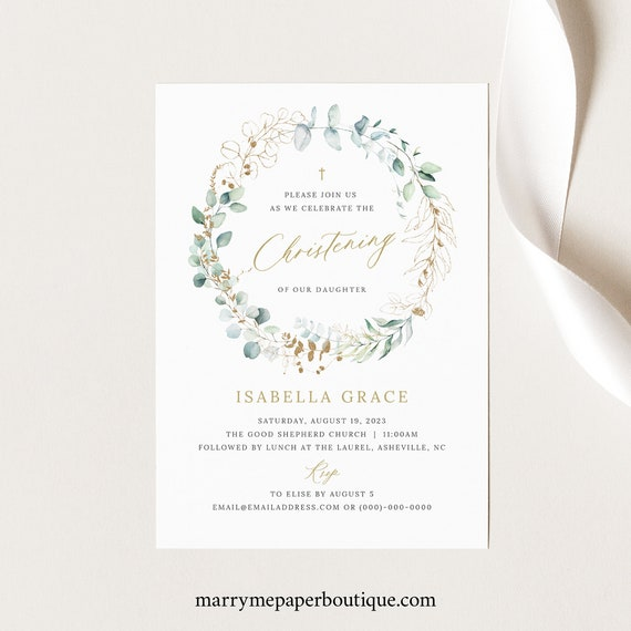 Christening Invitation Template, Gold & Greenery, Christening Invite Printable, Templett, Editable, INSTANT Download