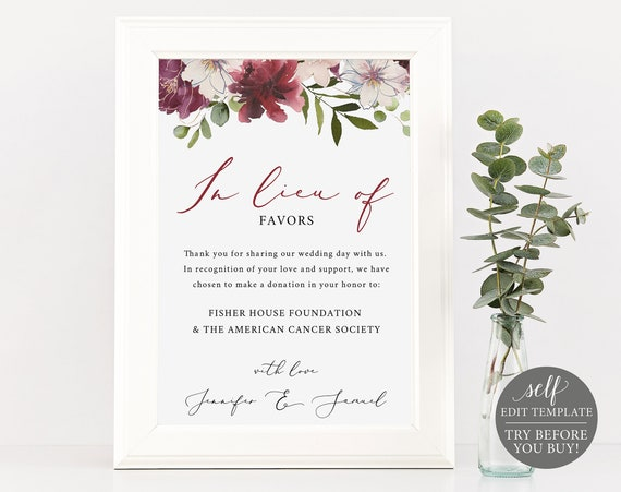 In Lieu of Favors Sign, 100% Editable, Instant Download, Printable In Lieu of Favors Sign Template, Burgundy, Floral, TRY BEFORE You BUY
