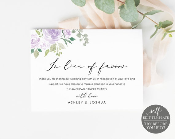 In Lieu of Favors Card Template, Lilac Floral, Editable Instant Download, TRY BEFORE You BUY