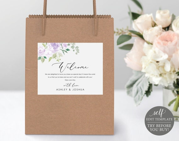 Welcome Bag Label Template, TRY BEFORE You BUY, Self Edit Instant Download, Mauve & Lilac Floral