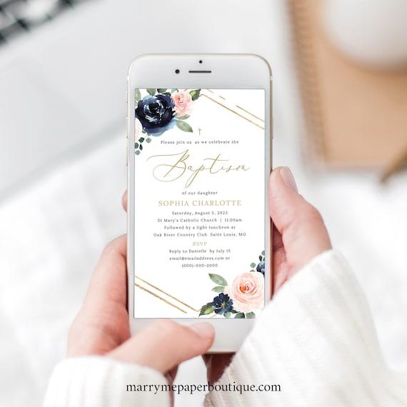 Baptism Electronic Text Invitation Template, Navy & Blush Floral, Digital Baptism Invite, Editable, Templett INSTANT Download